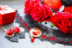 Black and red female accessories in a stylish vintage set Royalty Free Stock Images