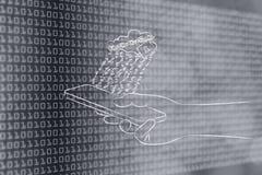 Núblese con la cerradura y la lluvia del código binario sobre móvil Imagen de archivo