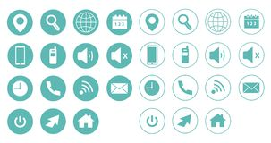 Colorful web icons, vector set. NBlue vector set / web icons for websites or web applications Royalty Free Stock Photography