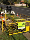 NBN Hybrid Coaxial Fiber cable installation with a cable drum Royalty Free Stock Photos