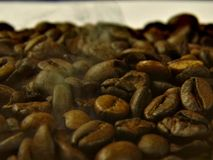 Roasted coffee beans over which is smoke stock images