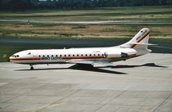 A NC Aero 232 de Lloyd Sud SE-210 Caravelle 10R D-ABAK chega em Dusseldorf Rhein-Ruhr, Alemanha Fotos de Stock Royalty Free