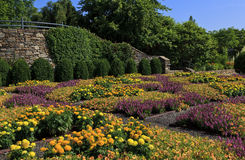 NC Arboretum Quilt Garden. The Quilt Garden at the North Carolina Arboretum in Asheville near the Blue Ridge Parkway stock image