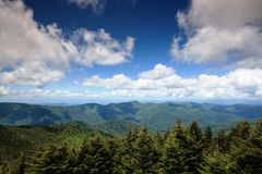 NC Landscape Blue Ridge Mountains and Clouds. Landscape of Blue Ridge Mountains on a blue sky with white clouds day in Western North Carolina Stock Photography