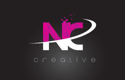 NC N C Creative Letters Design With White Pink Colors Royalty Free Stock Image