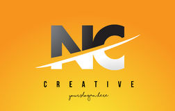 NC N C Letter Modern Logo Design with Yellow Background and Swoo. NC N C Letter Modern Logo Design with Swoosh Cutting the Middle Letters and Yellow Background Stock Photos