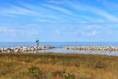 NC Ocracoke Living Shoreline Coastal Estuary. Silver Lake, Pamlico Sound, North Carolina Ocracoke Island's harbor, is the secod largest estuary in the US Royalty Free Stock Photo