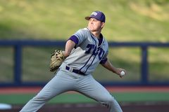 2015 NCAA棒球- WVU-TCU 图库摄影