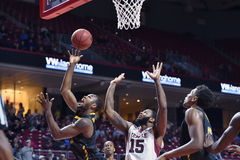 2014 NCAA篮球- Towson @寺庙比赛行动 免版税图库摄影