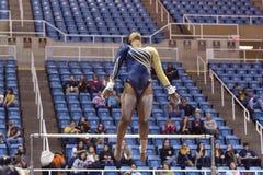 2015 NCAA Gymnastiek - Staat WVU-Penn Stock Foto