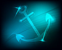 Аnchor. Image drowned anchor with neon glow Stock Images