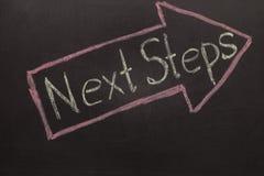 Nächste Schritte - Tafel mit Pfeil auf Schwarzem Stockfotos