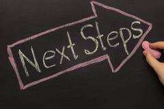 Nächste Schritte - Tafel mit Pfeil auf Schwarzem Lizenzfreies Stockbild
