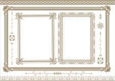 Ncient frame elements. Collection of design floral ancient frame elements vector illustration