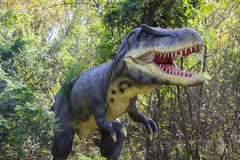 Ncient predator. Attacking Tyrannosaurus Rex in forest Stock Images