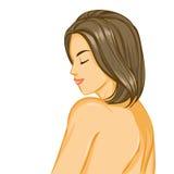 Näck flicka med härligt hår Arkivbild
