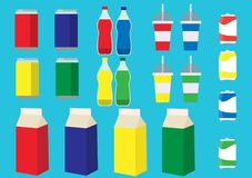 Colorful set of beverage. NColorfull set of beverage containers. Vector illustration royalty free illustration