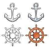 Âncora do personagem de banda desenhada e roda do mar isolada no fundo branco ilustração stock