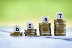 Ncreased liabilities from exemption debt consolidation concept of financial crisis and problems risk stock photos