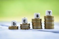 Ncreased odpowiedzialność od zwolnienie długu konsolidacji pojęcia kryzysu finansowego i problemów ryzyko zdjęcia stock
