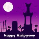 Nécropole de Halloween avec les chats noirs Images stock
