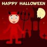 Nécropole de Halloween et diable rouge Images stock
