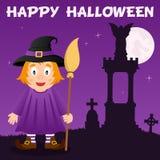 Nécropole de Halloween et sorcière mignonne Photo libre de droits