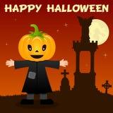 Nécropole et épouvantail de Halloween Photographie stock