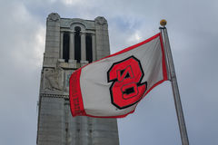 NCSU flag and bell tower. North Carolina State university flag with bell tower Stock Images