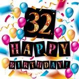 32nd årsårsdaglogo Royaltyfri Foto