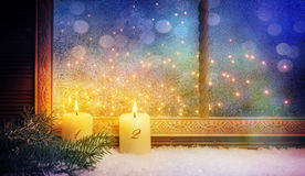 2nd Advent, Window decorations. With candles Stock Photos