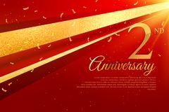 2nd anniversary celebration card template. Vector Stock Photos