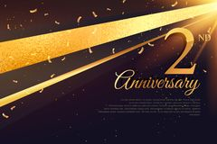 2nd anniversary celebration card template. Vector Stock Images