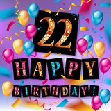 22nd Anniversary Celebration Design. With gift box and balloons, Red ribbon, Colorful Vector template elements for your twenty two years birthday celebration Stock Images
