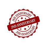 2nd anniversary eat stamp illustration. 2 years anniversary red stamp seal stamp illustration Royalty Free Stock Photos