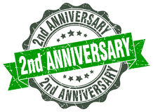 2nd anniversary stamp. Sign. seal Royalty Free Stock Photo