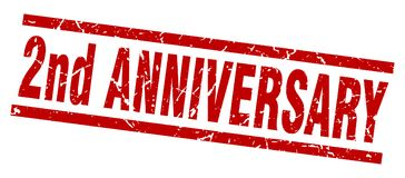 2nd anniversary stamp. 2nd anniversary square grunge stamp isolated on white background Royalty Free Stock Photo