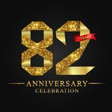 82nd anniversary years celebration logotype. Logo ribbon gold number and red ribbon on black background. Numbers style gold foil for logo, anniversary and etc vector illustration