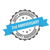 2nd anniverssary stamp illustration. 2nd anniversary stamp seal illustration design Royalty Free Stock Image