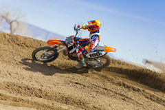 Dirt Bike Cornering Stock Photo