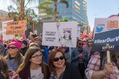 2nd Annual Women`s March - Comeback. LOS ANGELES, CALIFORNIA - JANUARY 21, 2018:  2nd Annual Women`s March marcher  holding sign that reads, `Don`t call it a Royalty Free Stock Image