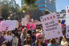 2nd Annual Women`s March - Jesus Never Shamed Women stock images