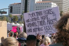 2nd Annual Women`s March - Men their rights. LOS ANGELES, CALIFORNIA - JANUARY 20, 2018: 2nd Annual Women`s March marcher with a sign that reads, `Men, their stock photos