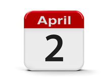 2nd April. Calendar web button - Second of April - Autism day, three-dimensional rendering Royalty Free Stock Image