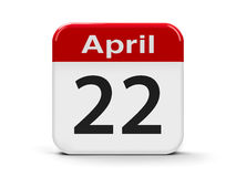 22nd April. Calendar web button - Twenty Second of April - International Earth Day, three-dimensional rendering Stock Image