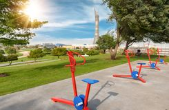 2nd of April 2017: Open air gym in the Aspire Park stock photos