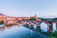 22nd of August 1944 Bridge in Albi, France. 22nd of August 1944 Bridge across the Tarn River in Albi, Tarn region, Midi Pyrenees, France royalty free stock photography