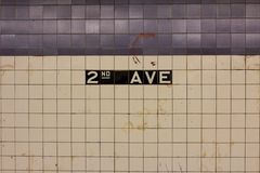 2nd AVE Station Sign. Sign on the tiled wall in Manhattan's 2nd AVE station announcing the stop Stock Photography