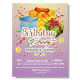 2nd birthday party invitation card with giftbox. 2nd birthday party invitation card template with giftbox Stock Image