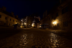 The 2nd Courtyard of Český Krumlov Castle in the night. Český Krumlov Castle - Czech republic - EU. The original Gothic castle was founded by the royalty free stock images